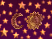 Moon and sun, party decoration Royalty Free Stock Photography