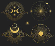 Moon, sun, planets and stars. Vector templates. Set of decorative design elements. Golden silhouettes on black background Royalty Free Stock Photo