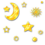 Moon sun and stars Royalty Free Stock Images