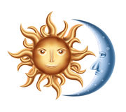 Moon and Sun. Vector decorative Golden Sun with Blue Moon isolated on white stock illustration