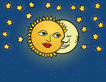 Moon Sun, Vector Illustration Stock Image