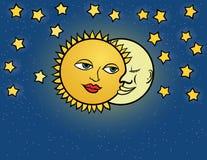 Moon sun, vector illustration Stock Image