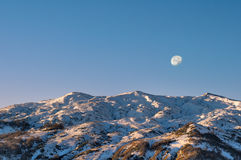Moon Sunrise in Caucasus Adygea. Moon over Mount Guzeripl in the Caucasian Reserve, Russia Stock Image