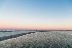 Moon at Sunset Over Tidewater Stock Image