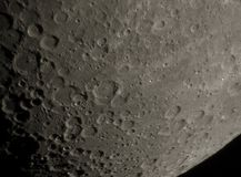 Moon surface. The high resolution Moon surface closeup image (southern part) that was taken by means of a Newton telescope with D=130mm. Landscape orientation Stock Photography