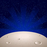 Moon surface. Over bright star space with comets Stock Images