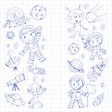 Moon surface. Kindergarten children play space exploration. Alien, ufo, spaceship. rockets. Children, boys and girls. Moon surface. Kindergarten children play vector illustration