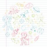 Moon surface. Kindergarten children play space exploration. Alien, ufo, spaceship. rockets. Children, boys and girls. Moon surface. Kindergarten children play stock illustration
