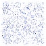Moon surface. Kindergarten children play space exploration. Alien, ufo, spaceship. rockets. Children, boys and girls. Moon surface. Kindergarten children play royalty free illustration