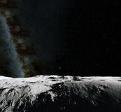 Moon surface. Realistic 3d render of moon and space. Space and planet. Satellite. Nebula. Stars. Elements of this image. Moon surface. Realistic 3d render of Stock Photography