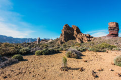 Moon surface of Teide National par on Tenerife island, Spain Stock Image