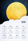 Moon. Sweet dreams wallpaper. 2016 calendar vertical - week starts with sunday Stock Images