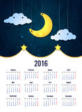 Moon. Sweet dreams wallpaper. 2016 calendar vertical - week starts with sunday Stock Photos