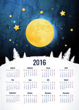 Moon. Sweet dreams wallpaper. 2016 calendar vertical - week starts with sunday Stock Image