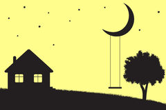 Moon swings. Swings hanging from the moon, house and tree silhouettes Royalty Free Stock Photo