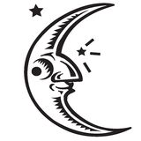 Moon Symbol. Moon Black and White Logo Vector Illustration