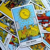 The Moon Tarot Card Dreams, nightmares, illusion, hidden things. The Moon Tarot Card is about dreams, nightmares, illusion, hidden things , insecurity, mystery royalty free stock photo