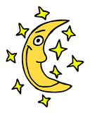 Moon tecknad film royaltyfri illustrationer