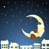Moon and teddy, baby greeting card Stock Images