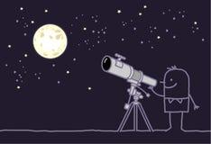 Moon & telescope. Vector hand drawn cartoon characters Stock Photos