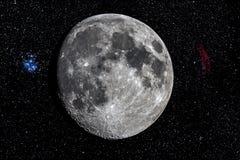 Moon by telescope Royalty Free Stock Photos
