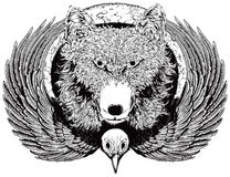 Moon time. A Wolf and a bird are bound to the moon. After the large format hand drawing, there has been added more detail with fine lines. All elements are on Royalty Free Illustration