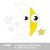 Moon to be colored. Vector trace game. Stock Photo