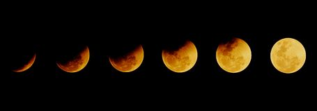 The moon after total eclipse ends in the different time on the d stock images