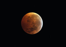 Moon,total lunar eclipse seen from Utila, Honduras Royalty Free Stock Images