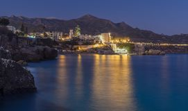 Moon at the town of Nerja stock photography