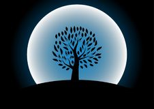 Moon tree silhouette against Royalty Free Stock Photography