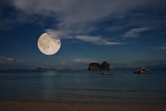 Moon and tropical sea Stock Photo