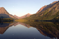 Moon on Two Medicine Lake Royalty Free Stock Images