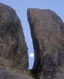 The Moon Between Two Rocks. Alabama Hills, California Stock Images