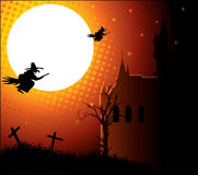 Moon and two witch. Moon and two black witch Stock Image