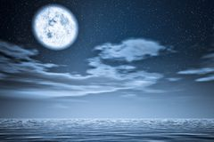 Moon upper the sea. Stock Photography