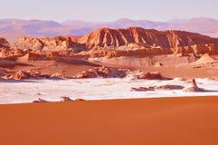 Moon valley Vale de la luna in Atacama desert. Moon valley Vale de la luna in Atacama desert at sunset time. Chile royalty free stock photography