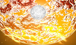 Moon in a vast galactic sun. Stock Images