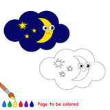Moon in vector cartoon to be colored. Royalty Free Stock Photos