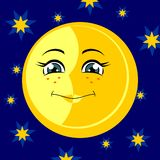 Moon. Vector illustration. Smiling moon on a starry sky. Vector illustration Royalty Free Stock Photo