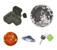 Moon, Venere del pianeta del sistema solare Zero, una meteorite I pianeti hanno messo le icone della raccolta nel vettore di stil Fotografia Stock Libera da Diritti