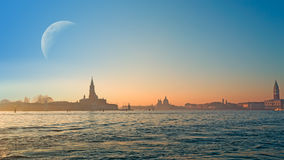 Moon in Venice Stock Photography