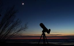 Moon and Venus observing after sunset royalty free stock photo