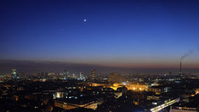 Moon & Venus Over Zagreb Skyline Royalty Free Stock Photography