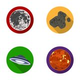 Moon, Venus of the planet of the solar system. Nil, a meteorite. Planets set collection icons in flat style vector Stock Photo