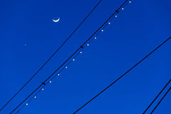 The Moon and Venus, silhouetted with the masts of the USS Conste Stock Photo