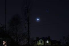 Moon and Venus Stock Photos