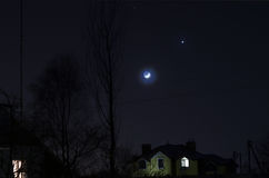 moon venusen Arkivfoton