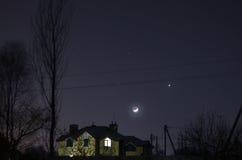 moon venusen Arkivfoto