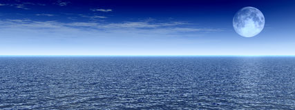 Moon View. Beautiful moonlight ocean  panorama - 3d scene Royalty Free Stock Photo